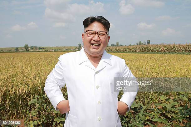This undated picture released from North Korea's official Korean Central News Agency on September 13 2016 shows North Korean leader Kim JongUn...
