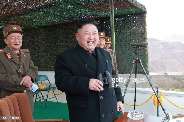 This undated picture released from North Korea's official Korean Central News Agency on April 1 2017 shows North Korean leader Kim JongUn inspecting...