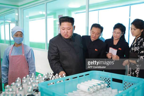 This undated picture released from North Korea's official Korean Central News Agency on October 29 2017 shows North Korean leader Kim JongUn...