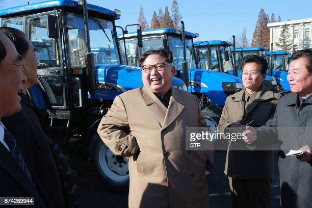 This undated picture released from North Korea's official Korean Central News Agency on November 15 2017 shows North Korean leader Kim JongUn...