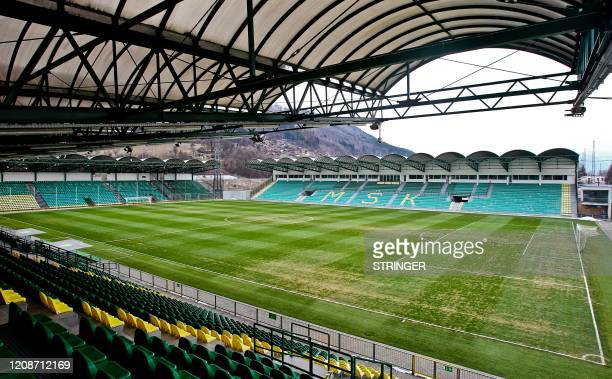 This undated picture taken in the year 2016 shows the stadium of seven-time Slovakian football league champions MSK Zilina in Zilina, Slovakia. - MSK...