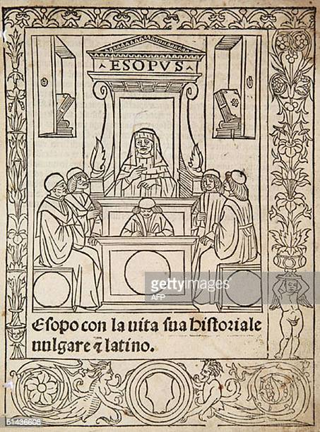 This undated pictures shows a rare 15th century copy of Aesop's Fables which is due to be auctioned 07 October 2004 in Swindon England The edition of...