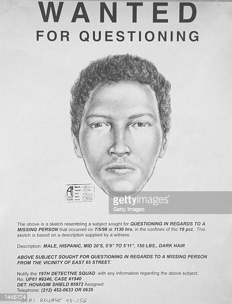 This undated police wanted poster shows an artist''s sketch of the man wanted in connection with the kidnapping of wealthy widow Irene Silverman...