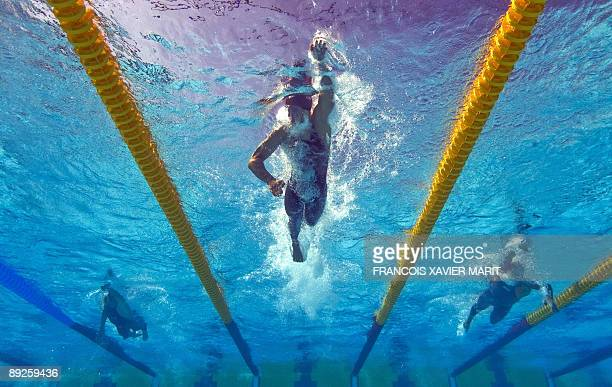 This underwater image shows China's Zhang Lin competing during the men's 400m freestyle on July 26 2009 at the 13th FINA World Swimming Championships...