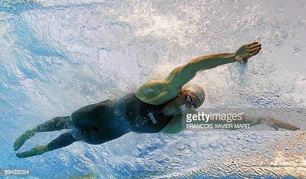 This underwater image shows South Africa Cameron Van Der Burgh competing to win gold in the men's 50m breaststroke semifinal on July 28 2009 at the...