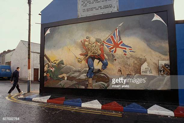 This unionist mural of a skeleton soldier carrying a union jack through a battlefield reflects the strong animosity many unionists feel towards the...