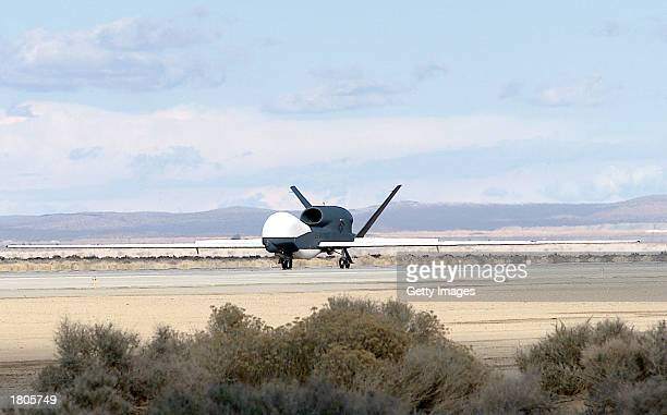 This US Air Force photo shows the US Military's newest Global Hawk Unmanned Aerial Vehicle February 14 2003 at Edwards Air Force Base California The...