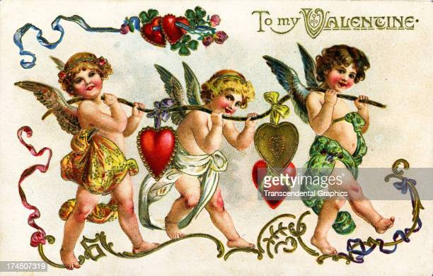 This valentine postcard with cute marching cherubs is produced around 1910 in Germany