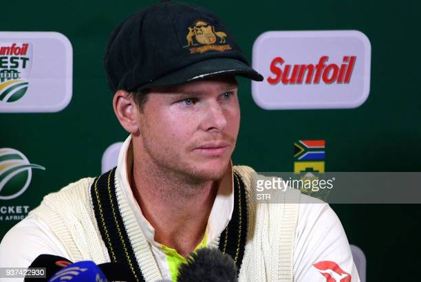 This video grab taken from a footage released by AFP TV shows Australia's captain Steve Smith speaking during a press conference in Cape Town on...