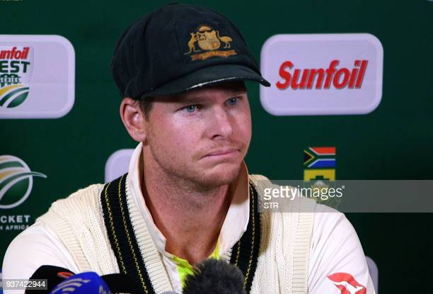 TOPSHOT This video grab taken from a footage released by AFP TV shows Australia's captain Steve Smith speaking during a press conference in Cape Town...