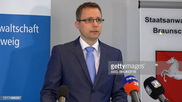 This video grab taken from AFP footage shows Hans Christian Wolters a spokesman for Brunswick prosecutor's office addressing the media in...