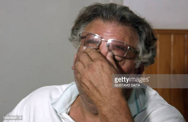 This video grab taken on February 08 2019 shows Horacio Sala father of late Argentine footballer Emiliano Sala gesturing during an interview with AFP...