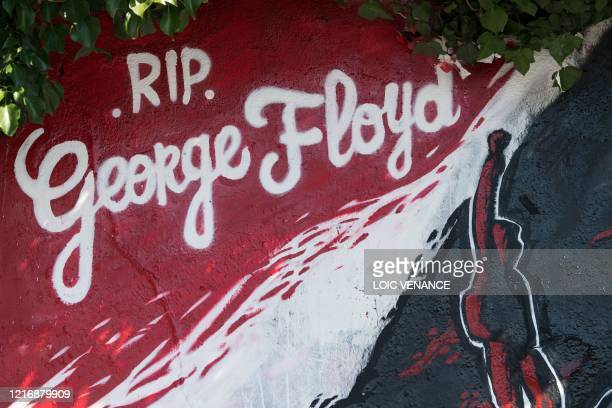 This view shows a detail of a mural memorial in Nantes western France on June 2 made in memory of the late George Floyd a week after the death in the...