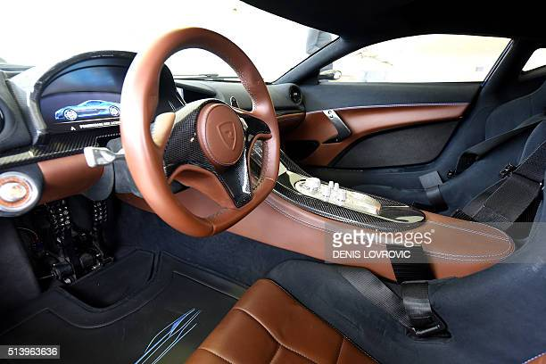 This view taken on February 17 2016 shows the interior of Concept One car model the world's first electric supercar at Mate Rimac's factory in Sveta...