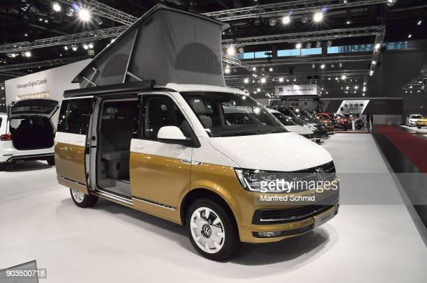 This Volkswagen California Bulli is displayed during the Vienna Autoshow as part of Vienna Holiday Fair on January 10 2018 in Vienna Austria The...