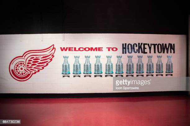 This wall painting on the interior of Joe Louis Arena represents all eleven Stanley Cup victories for the Detroit Red Wings franchise taken prior to...