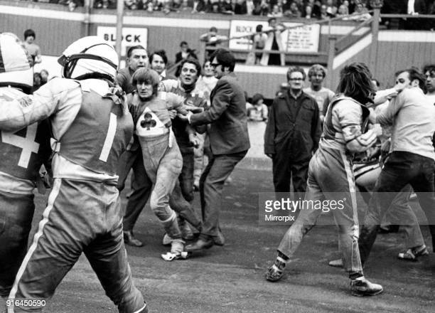 This was the scene at Belle Vue after an amazing flareup in the Aces match against Leicester Here Leicester skipper Ray Wilson holds his teammate...