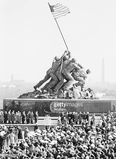 This was the scene during the dedication of the United States Marine Corps War Memorial a heroic statue of the flag raising at Mt Suribachi Iwo Jima...