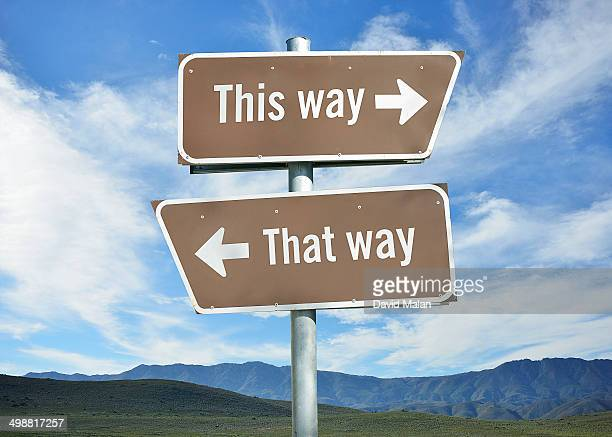 'This way' and 'that way' on direction signs