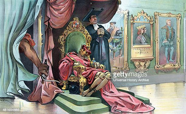 This will be an internal explosion bu Udo Keppler 18721956 artist 1898 Print shows the child king Alfonso XIII as a wooden puppet slumped over on the...