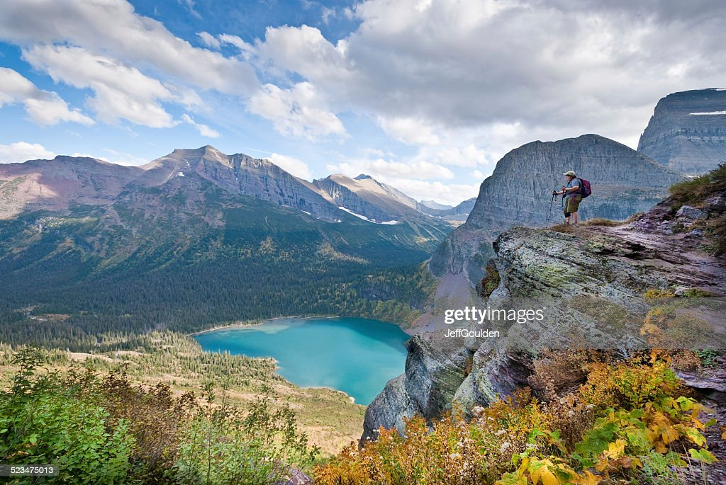 Hiker Looking Down on Lower Grinnell Lake : Stock Photo