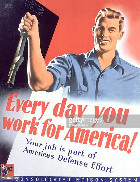 This World War II era poster was one of a series produced by Con Edison in support of the American war effort at home