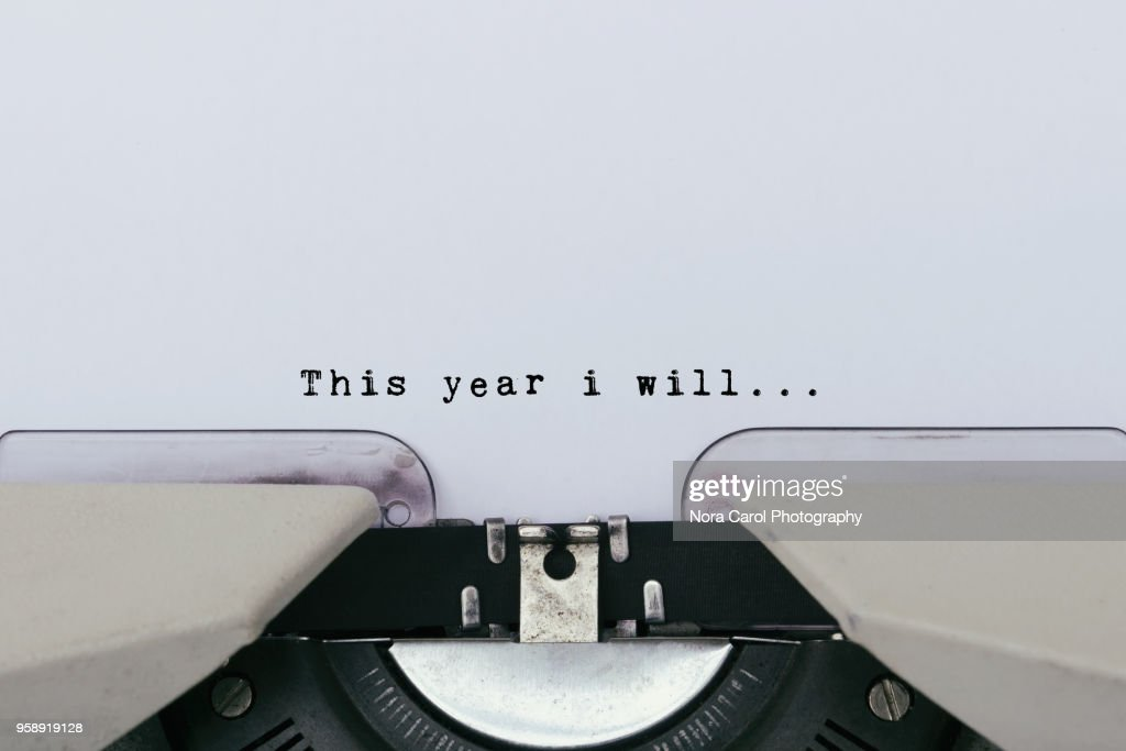 This year i will text on a vintage typewriter : Stock Photo
