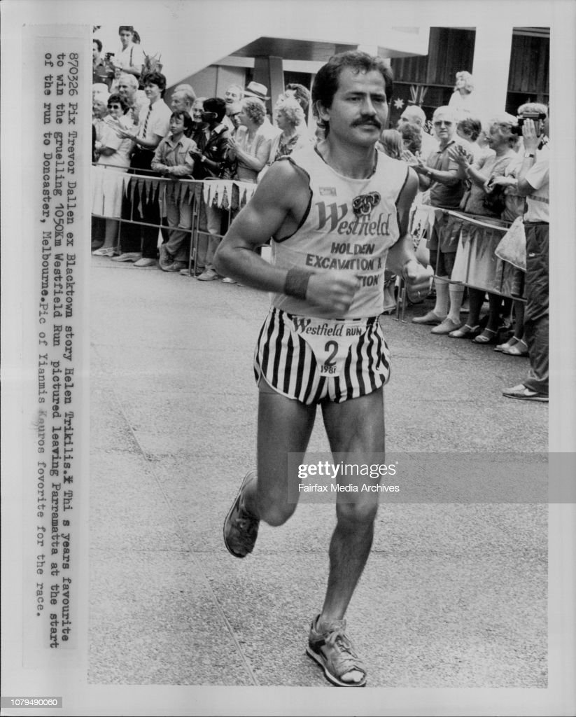This years favourite to win the gruelling 1050km Westfield Run pictured leaving Parramatta at the start of the run to Doncaster, Melbourne. Pic of Yiannis Kouros fovorite for the race. : News Photo