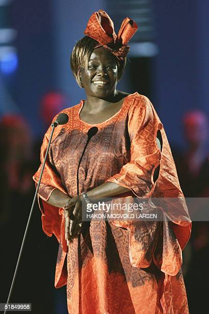 This year's Nobel Peace Prize laureate Kenyan environmentalist Wangari Maathai appears on stage at the Nobel Peace Prize Concert in Oslo 11 December...