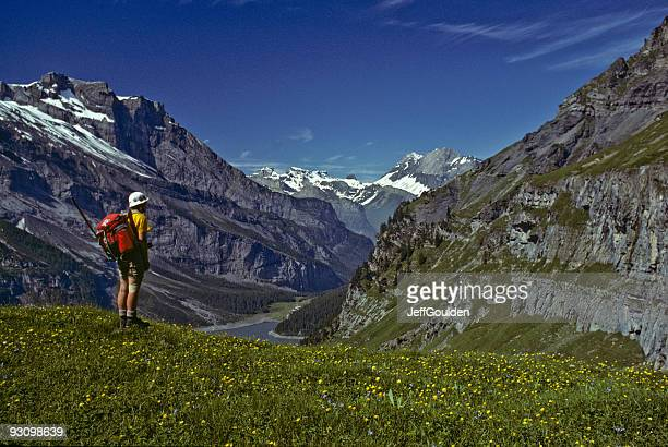 Young Woman Hiking in the Swiss Alps