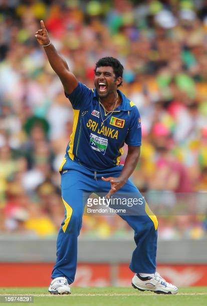 Thisara Perera of Sri Lanka celebrates after claiming the wicket of David Warner of Australia during game four of the Commonwealth Bank one day...
