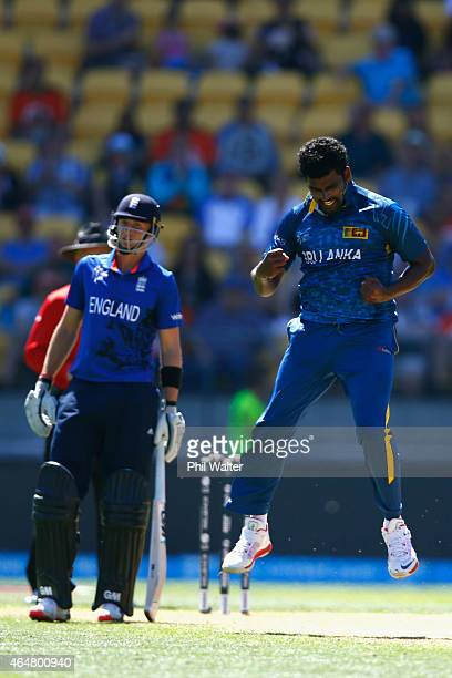 Thisara Perera of Sri Lanka celebrates his wicket of Eoin Morgan of England during the 2015 ICC Cricket World Cup match between England and Sri Lanka...