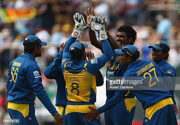 Thisara Perera of Sri Lanka celebrates taking the wicket of Steven Smith of Australia during game two of the Commonwealth Bank One Day International...