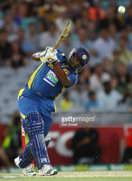Thisara Perera of Sri Lanka hits a six to win the match during game one of the Twenty20 international match between Australia and Sri Lanka at ANZ...