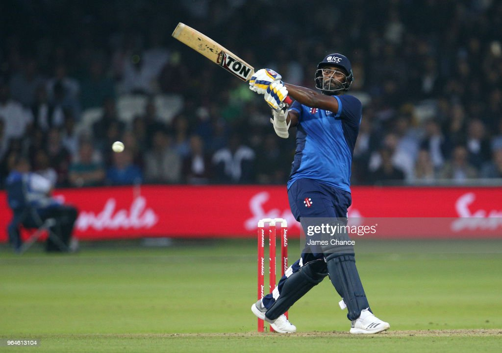 Thisara Perera of the during the Hurricane Relief T20 match between the ICC World XI and West Indies at Lord's Cricket Ground on May 31, 2018 in London, England.