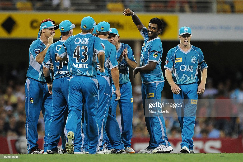 Thisara Perera of the Heat celebrates a wicket during the Big Bash League match between the Brisbane Heat and the Melbourne Stars at The Gabba on January 3, 2013 in Brisbane, Australia.