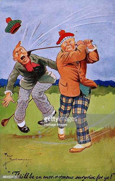 This'll be an enorrmous surprise for ye Golfing cartoon Scottish c1920s