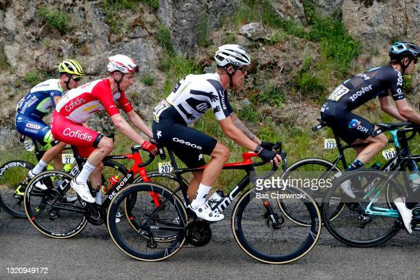 Théo Delacroix of France and Team Intermarché - Wanty - Gobert Matériaux, Kenneth Vanbilsen of Belgium and Team Cofidis & Dylan Sunderland of...