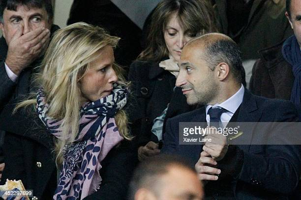Thoamas Fabius and his wife the UEFA Champions League between Paris SaintGermain FC and Olympiacos FC at Parc Des Princes on November 27 2013 in...