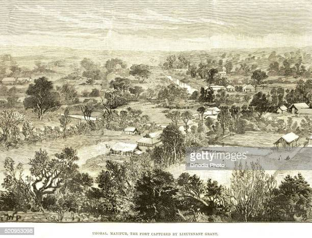 thobal manipur, the fort captured by lieutenant grant, 11th april 1891, india - lieutenant stock pictures, royalty-free photos & images