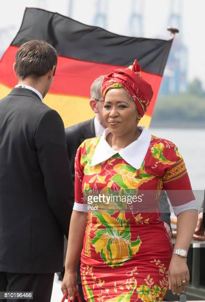 Thobeka MadibaZuma wife of Jacob Zuma President of the Republic of South Africa leaves the boat Diplomat on the river Elbe as they take part in the...