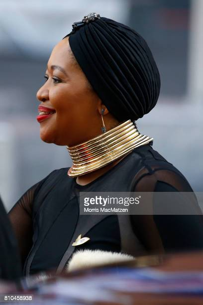 Thobeka MadibaZuma wife of South Africa's President Jacob Zuma arrives to attend a concert at the Elbphilharmonie philharmonic concert hall on the...
