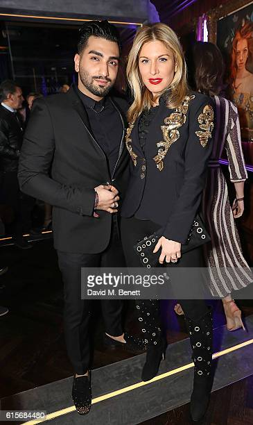 Thoi and Hofit Golan attend the launch of MNKY HSE latenight restaurant Mayfair on October 19 2016 in London England