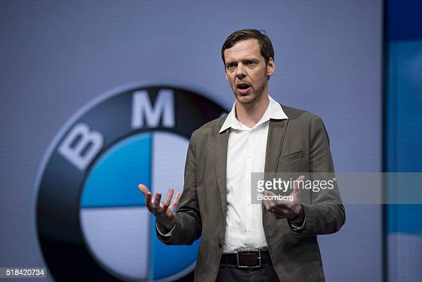 Thom Brenner vice president of digital life for BMW Group speaks during a keynote session at the Microsoft Developers Build Conference in San...