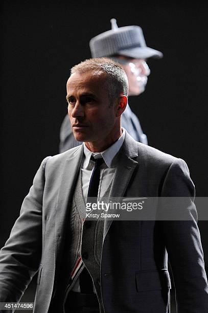 Thom Browne acknowledges the audience during the Thom Browne show as part of Paris Fashion Week Menswear Spring/Summer 2015 on June 29 2014 in Paris...