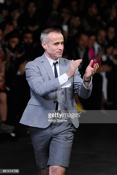 Thom Browne acknowledges the audience during the Thom Browne show as part of Paris Fashion Week Menswear Spring/Summer 2015 on June 29, 2014 in...