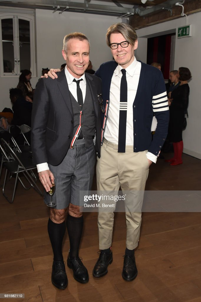 Thom Browne (L) and Andrew Bolton attend Thom Browne In Conversation with Sarabande: The Lee Alexander McQueen Foundation on March 13, 2018 in London, England.
