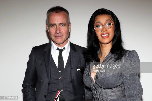 Thom Browne and Cardi B attend the Thom Browne Womenswear Spring/Summer 2020 show as part of Paris Fashion Week on September 29, 2019 in Paris,...