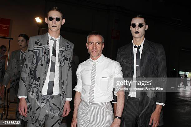 Thom Browne poses backstage before the Thom Browne Menswear Spring/Summer 2016 show as part of Paris Fashion Week on June 28 2015 in Paris France