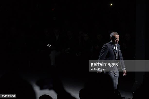 Thom Browne walks the runway at the Moncler Gamme Bleu show during Milan Men's Fashion Week Fall/Winter 2016/17 on January 17 2016 in Milan Italy